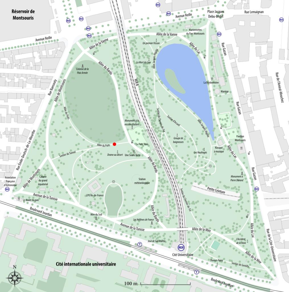Plan exact du lieu d'entraînement, il est situé près de la statue du fauve nomée Drame au désert
